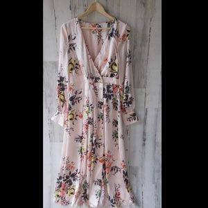 Free People In Bloom Floral Maxi Buttondown Dress